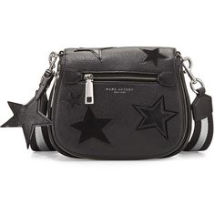 Marc Jacobs Star Patchwork Small Saddle Bag (1,720 PEN) ❤ liked on Polyvore featuring bags, handbags, shoulder bags, black multi, zipper purse, patchwork handbags, flap handbags, marc jacobs and patchwork purses