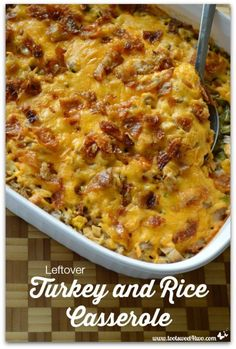 Looking for leftover turkey recipes? Leftover Turkey and Rice Casserole is the perfect after-the-holidays dinner plus it uses a surprise ingredient!