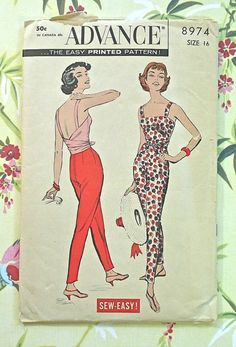 Advance 8974. This vintage 1950s womens front-wrap tank top/camisole and slim pants pattern is for size 16 (bust 36) and is uncut. Outfit has one-piece