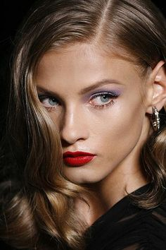Glamour Girls...Gorgeous fall make-up (red lips classic) and hair (glamour girl)...beauty and cosmetics (makeup)