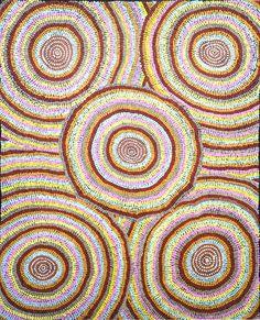 Molly Martin NAPURRURLA, peintre aborigène de la communauté de Warlukurlangu (Yuendumu) #artaborigene #contemporain #australie