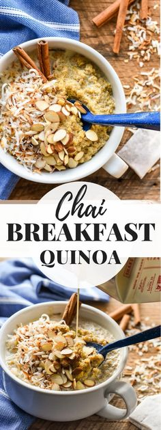 This warm and comforting Chai Quinoa Breakfast Bowl is a healthy breakfast for a cold winter morning. Naturally gluten and dairy free!