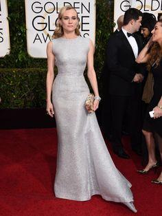 Diane Kruger con un vestido plateado de Emilia Wickstead c