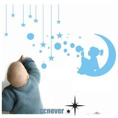 girl bubbles moon starsRemovable Graphic Art wall by ccnever