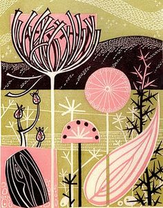 Angie Lewin is a lino print artist, wood engraver, screen printer and painter depicting the UK's natural flora in linocut and other limited edition prints. Angie Lewin, Illustration Botanique, Plant Illustration, Patterns In Nature, Print Patterns, Nature Pattern, Pattern Print, Linocut Prints, Print Artist