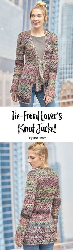 Tie-Front Lover's Knot Jacket free crochet pattern in Unforgettable yarn. This flattering longer length jacket is the transitional piece you'll love having in your sweater collection. The Lover's Knot stitch has such a romantic look, it's no wonder that crocheter's have been in love with it for decades.