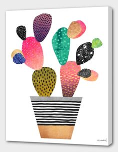 """""""Happy Cactus"""", Numbered Edition Canvas Print by Elisabeth Fredriksson - From $69.00 - Curioos"""