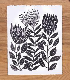 Flower Drawing Protea Mix linocut print by Young Schmidt Print - Lino Art, Linoleum Block Printing, Linoprint, Plant Drawing, Illustration, Linocut Prints, Woodblock Print, Flower Prints, Fine Art Paper