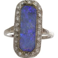 Edwardian Black Opal Ring | Platinum Diamond | Antique Cocktail Ring from The Gryphon's Nest at RubyLane.com