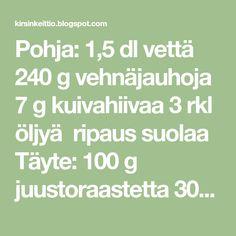 Pohja: 1,5 dl vettä 240 g vehnäjauhoja 7 g kuivahiivaa 3 rkl öljyä ripaus suolaa Täyte: 100 g juustoraastetta 300 g pa... Math Equations