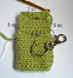 Materials: * Worsted weight acrylic yarn * crochet hook * inch button * Swivel clasp with split ring * stitch markers (I us. Diy Crochet Coin Purse, Crochet Hooks, Free Crochet, Stitch Markers, Key Rings, Coins, Crochet Patterns, Personalized Items, Blanket