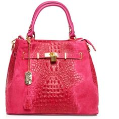 """Hot Pink Croc Embossed Italian Leather Bag Hot Pink Croc Embossed Italian Suede Leather Bag This beautiful large bucket bag has an interior zip pocket and an interior cell phone pocket and also includes a longer detachable shoulder strap with an 18"""" drop.  Functional Lock with attached Key. Zip Top closure with gold hardware and bottom foot studs.  Length-14"""" Height-11"""" Depth-7"""" Handle Drop-6"""" INCLUDES DUST BAG! Tomazzi Bags"""