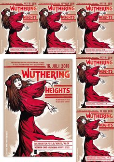 wuthering posters- Most Wuthering Heights Day ever us just 3 days away. Not the Book, the Kate Bush song based on the book. Actually the iconic Red Dress music video of the song based on the book. Sadly very few US locations.