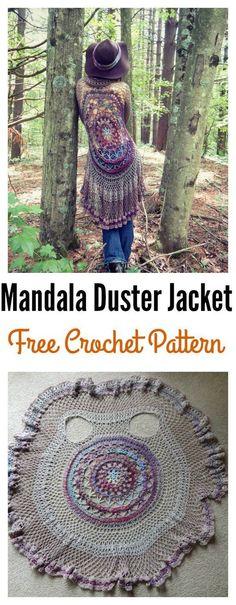 Häkeln Mandala Duster Jacke Freies Muster