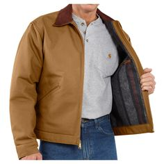 Carhartt Men's Blanket Lined Duck Detroit Jacket J001