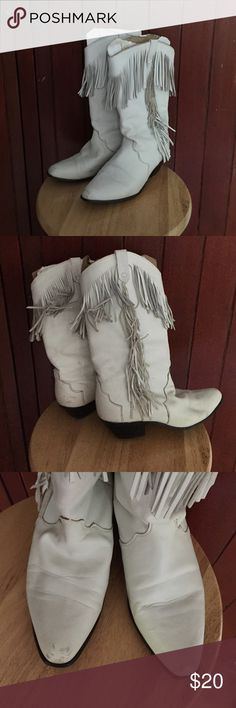 Ladies Cowgirl Boots  Ladies white cowgirl boots with fringe accents. Size not marked, but measures as 7 1/2. Previously worn, but good condition. Some scuffs, but a little polish will clean them up nicely. Perfect for line dancing! Dingo Shoes Heeled Boots