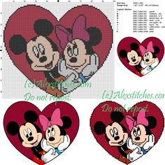 Minnie and Mickey Mouse cross stitch pattern 100x86 10 colors