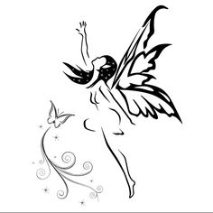 Fée et papillon Fish Stencil, Small Phoenix Tattoos, Fairy Silhouette, Fairy Drawings, Fairy Tattoo Designs, Dragons, Flower Sleeve, Tribal Art, Mythical Creatures