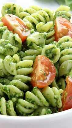Spinach Pesto Pasta Salad. Toss in some chicken to make it a meal.