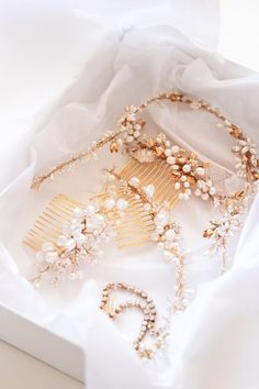 Gold bridal headpieces by Percy Handmade