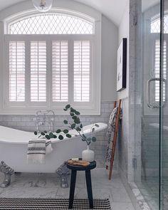 Blinds.com Composite Shutter in Pearl. #homedecor #interiordesign #bathroomideas #decorating #homestyling #bathroomdecor Cafe Shutters, Wood Shutters, Parisian Bathroom, Bathroom Window Treatments, Simple Bathroom Designs, Interior Decorating, Interior Design, Home Office Decor, Home Decor