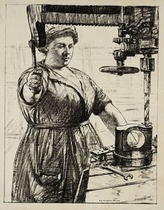 Women's Work: On Munitions - Heavy Work (Drilling and Casting) circa 1917 by Archibald Standish Hartrick 1864-1950