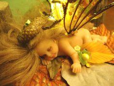 fairy baby brown ACORN ooak art doll wing fantasy flower fairies crystal leaf