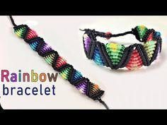 Macrame tutorial: The rainbow bracelet – Easy and cute craft idea – Macrame Bracelets Macrame Knots, Macrame Jewelry, Macrame Bracelets, Diy Jewelry, Macrame Earrings, Loom Bracelets, Jewellery, Friendship Bracelet Patterns, Friendship Bracelets