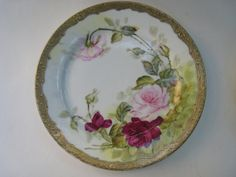 Set of 4 Hand Painted Dessert Plates with Pink and by Esoterique50, $32.00