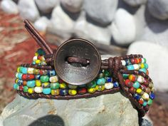 carefree gypsy  double wrap leather by offbeadinpathneosho on Etsy