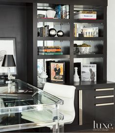 Great shelving unit / bookcase for an office area.