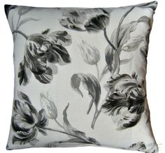 Cushion Cover Gosford Charcoal Laura Ashley Handmade Black Grey Tulips Scatter