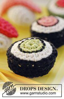 "Crochet DROPS sushi and maki with wasabi in ""Paris"". ~ DROPS Design"