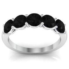 5 Stone Black Diamond Anniversary or Wedding Ring