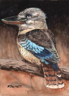 ACEO Original Painting Kookaburra bird wildlife fly wing Australia  animals #Impressionism