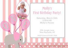 Birthday Girl Elephant Invitation 1st Birthday by APartyWithPaper, $18.00
