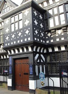 Underbank Hall in Stockport, England. It is a 15th century house and is now a bank.
