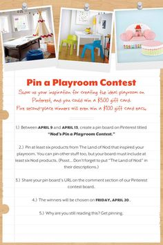 The Land of Nod's Pin a Playroom Contest! @Courtney McKenzie please try to win!
