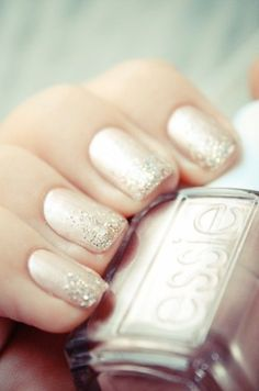 Nail Colors, Nail Polish Trends, Nail Care & At-Home Manicure Supplies by Essie. Shop nail polishes, stickers, and magnetic polishes to create your own nail art look. Bridal Manicure, Nail Manicure, Nail Polishes, Mani Pedi, Bridal Shower Nails, Nail Design Glitter, Glitter Nails, Sparkly Nails, Gold Glitter