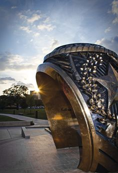 The Aggie Ring outside of The Association of Former Students building