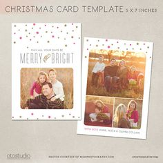 Digital Photoshop Christmas Card Template for by OtoStudio on Etsy, $7.50