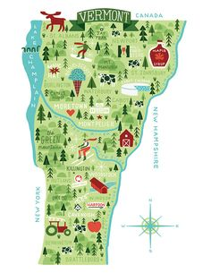Vermont Illustrated Map by Michael Mullan