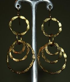 Brass hoops on gold plated ear wires $20