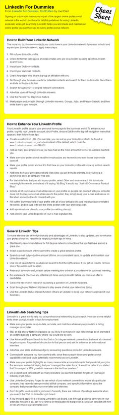 [LinkedIn Cheat Sheet For Dummies] The sheet consists of pretty much everything you need to know about LinkedIn, and how to use it. It is actually called LinkedIn For Dummies and will totally make you a LinkedIn pro before you know it.If you are looking to enhance your experience when it comes to LinkedIn, then this is definitely something for you
