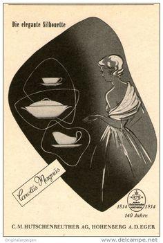 """Original-Werbung/Anzeige 1954 - HUTSCHENREUTHER PORZELLAN  """"CAROLUS MAGNUS"""" / HOHENBERG / EGER- ca. 65 x 110 mm"""