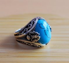 Excited to share the latest addition to my #etsy shop: Mens Handmade Ring, Turkish Handmade Silver Men Ring, Ottoman Mens Ring, Turquoise Men Ring, Gift for Him, 925k Sterling Silver Ring #jewellery #ring #silver #yes #boys #blue #turquoise #round