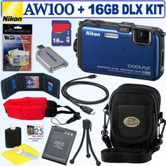 """Nikon Coolpix AW100 16 MP CMOS Waterproof Digital Camera (Blue) + EN-EL12 Battery + 16GB Deluxe Accessory Kit by Nikon. $297.95. The rush lasts a moment, the pictures last a lifetime. You live to be """"in the moment,"""" so anything that brings back the rush is worth it. The Nikon COOLPIX AW100 is waterproof, shockproof and freezeproof, so you can take it on all of your extreme adventures. It packs a 5x Zoom-NIKKOR ED glass lens and a 16.0-MP CMOS sensor to record low-..."""