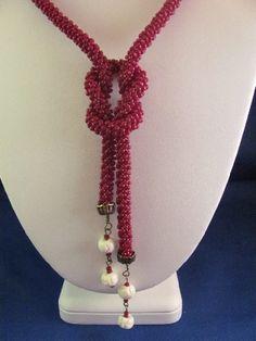Dark red Kumihimo braid 2-way necklce. on Handmade Artists' Shop