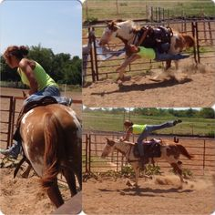 Leah Self trick riding on Chiitto for the first time. Cowgirl, fitness, paint horse, trick rider