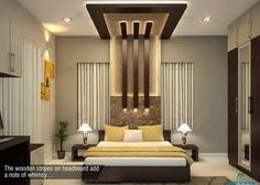 The wooden stripes on headboard add a note of whimsy.. Visit Website : www.monnaie.in #modern #interiordesign #bedroom